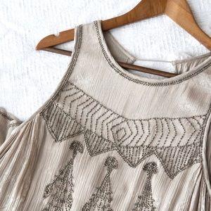 Free People Silver/Gray Beaded Mini Dress!